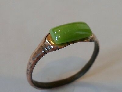A Genuine & Beautiful ,detector Find,200-400 A.d Roman Ae Ring With Glass/stone