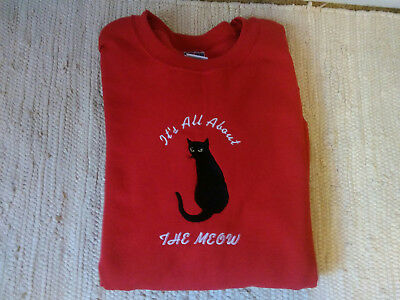 Cat Embroidered Red Adult Sweatshirt. All About Black Cat