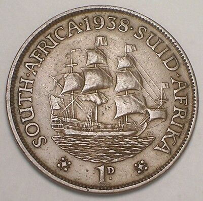1938 South Africa African One 1 Penny Sailing Ship Coin VF+