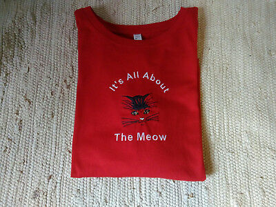 Cat Embroidered Red Ladies L/S Tee. Kitten