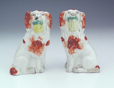 Antique Staffordshire Pottery Pair Of Flower Basket Dogs - Damaged But Rare!