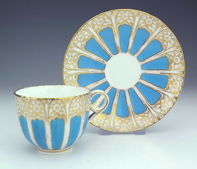 Antique English China - Turquoise Glazed & Gilded Cabinet Cup & Saucer - Lovely!