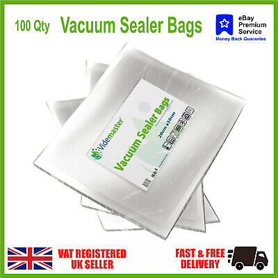 100 x Food Vacuum Sealer Bags BPA FREE by Videmaster, for  Foodsaver, JML etc