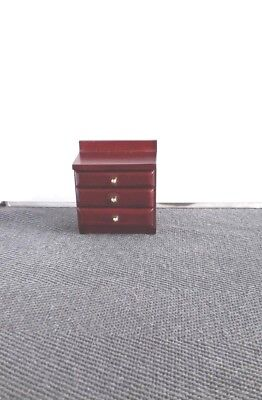 Dolls House Furniture: Wooden Bedside Drawer Unit in mahogany finish :12th scale