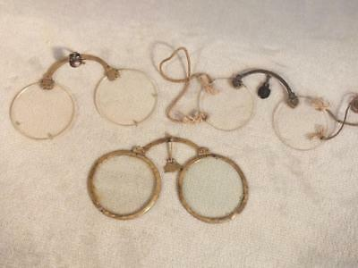 Lot 3 Pair Antique Chinese Collapsing Brass Nose Spectacles / Eyeglasses