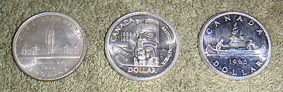 3 Different Vintage Canada .800 Silver Dollar Coins 1939, 1958 & 1965 Dates Lot