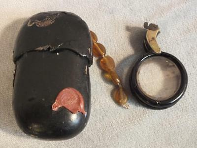 Antique Chinese Ebony Gourd Eyeglass Case & Nose Spectacles