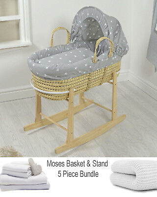 4Baby Palm Grey / White Stars Baby Moses Basket & Rocking Stand + Bedding