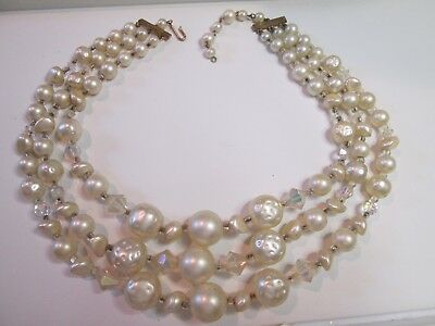 Vintage 3 Strand Necklace~Graduated~Baroque Faux Pearl & Glass Beads Bib