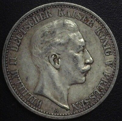 Prussia 1908-A Silver 2 Mark -German State- About Uncirculated Km#522
