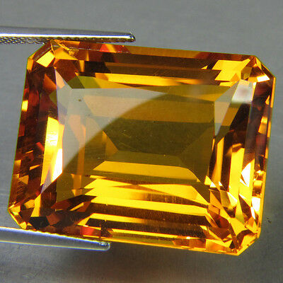 LARGE 16x12mm OCTAGON-FACET NATURAL BRAZILIAN GOLDEN CITRINE GEMSTONE (APP £295)