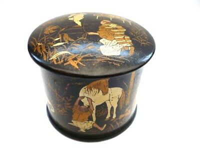 JAPANESE LACQUER --PAPIER MACHE CIRCULAR LIDDED BOX--HEIGHT 2.5 ins