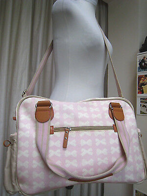 Pink Lining baby changing bag Yummy Mummy pink bow big capacity oilcloth leather