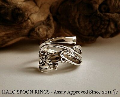 Very Pretty Bluebell Detailed Finland Silver  Spoon Ring Super Mothers Day Gift