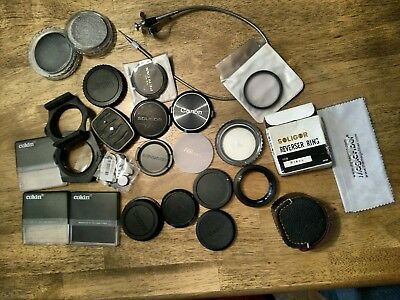 Lot Vintage Camera Lense Filters, Caps and Accessories
