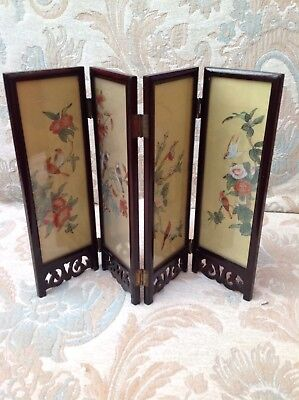 JAPANESE VINTAGE Folding Miniature Hand Painted Silk & Carved 4 Folding Screen