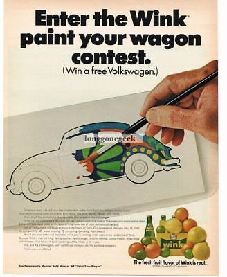 1969 Canada Dry Wink Soda Psychedelic Volkswagen drawing Vtg Print Ad