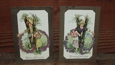 "Vintage postcards Davidson Bros.""Happy Thoughts"" ""Hearty Greetings"" lot of 2"