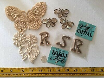 Vintage antique  lot of 8 pc Sequin pearl Lace Trim sew-on Appliqué new unused