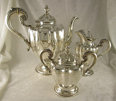 Vintage Three Piece Mexican Sterling Silver Coffee/Tea Service 1873grams c1940's