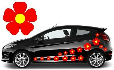 32 Red & Yellow Flower Car Decals,Stickers,Car Graphics,Daisy Stickers
