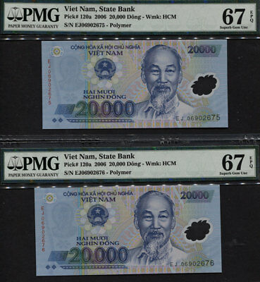 "TT PK 120a 2006 VIET NAM 20000 DONG ""HO CHI MINH"" PMG 67 EPQ SEQUENTIAL SET OF 2"