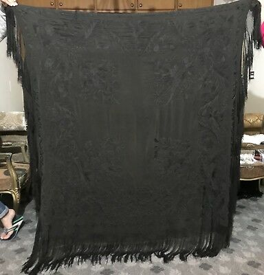 """Antique Chinese Hand Embroidered Silk Piano Shawl 62"""" X 62"""" Jet Black"""