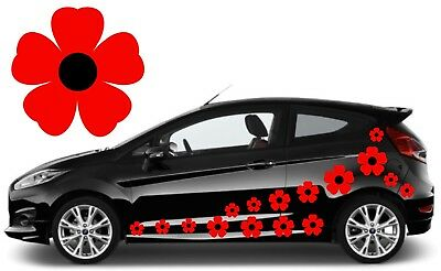 32 Red & Black Flower Car Decals,stickers,car Graphics,daisy Stickers
