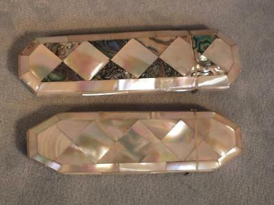 2 Victorian Abalone Shell / Mother Of Pearl Eyeglass Cases - Diamonds