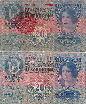 2X20 Korona Banknotes From Hungary With&without Finance Ministry Stamp 1920