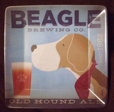 "BEAGLE SNACK PLATE APPETIZER UNIQUE DOGS ROCK 8""x8"" SQ MELAMINE DEMDACO NEW"