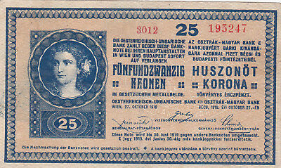 25 Korona/kronen Very Fine Note With A Stamp From City Of Mohács In 1919 Rr