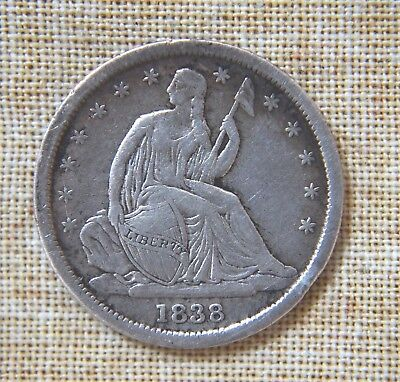 1838 Seated Liberty Dime - Fine Details - Small Stars