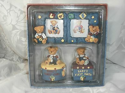 Blue Jean Teddy Bear 3-Pc Gift Set Picture Frame, 1St Tooth Box &curl Box Holder