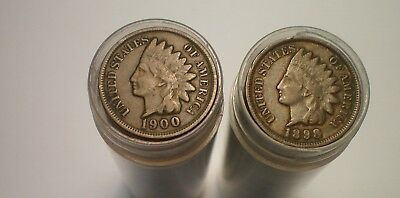 1889 To 1908 Fine-Vf Indian Cent Roll Lot / 2 Rolls 100 Coins