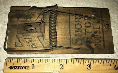 Antique Short Stop Mouse Trap Bait Here Vintage Wood Rodent Killer Old Hardware