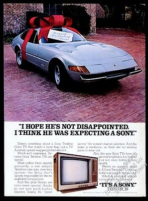 1979 1973 Ferrari Daytona blue car in gift bow photo Sony TV set vintage ad