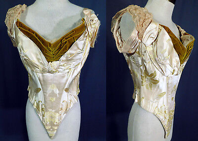Victorian Charles Worth Paris Label Lily Silk Damask Ball Gown Bodice Corset Top