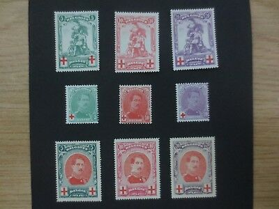 Belgium 1914 1915 Pro Red Cross 3 complete MH Mint Hinged sets