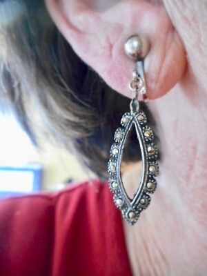 Authentic Vintage 1920's Sterling Silver Marcasite Dangle Clip Earrings