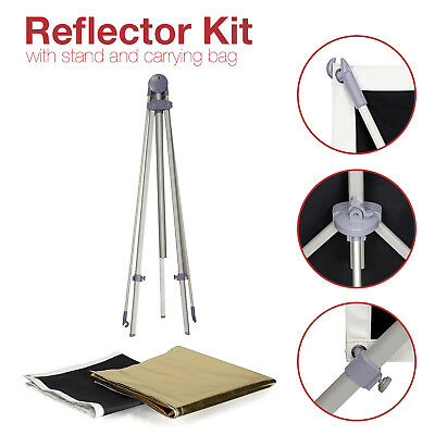 Photo Studio Panel Reflector Kit w/ Stand & Carrying Bag Black White Gold Silver