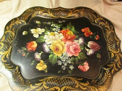Beautiful Vintage Chippendale Hand Painted Floral Tole Design Black Metal Tray