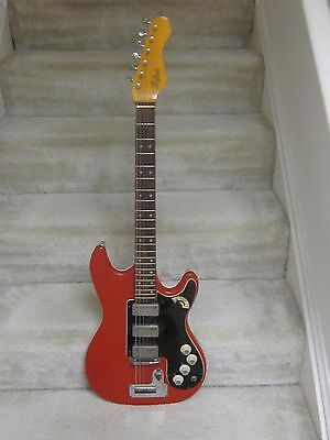 1962/63 Hofner 172 IIR red vinyl electric guitar- very nice condition,3 PU's