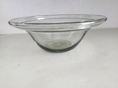 Antique Pale Green American Blown Glass Milk Pan Hollow Folded Over Rim Pontil