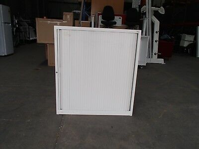 Office/Home Half Height Tambour Unit 2 Shelves White Metal 28658/5029