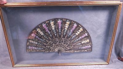 Antique Chinese Hand Fan Painted Floral On Silk & Engraved Gilt Sticks Framed