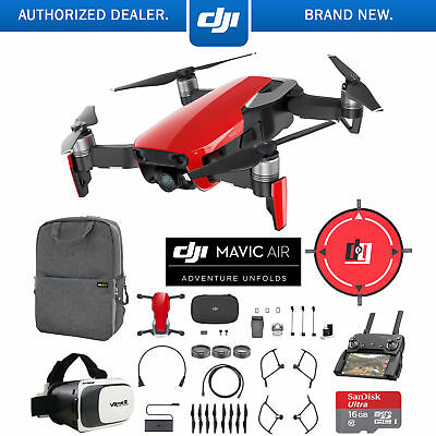 DJI Mavic Air Flame Red Drone Mobile Go Pack VR Goggles Landing Pad 16GB Card