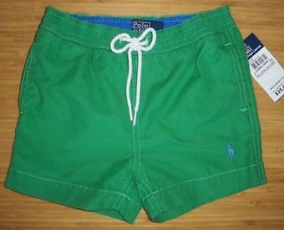 New Polo Ralph Lauren Boys Shorts Swim Trunks Green Blue 24 m 2 2T NWT