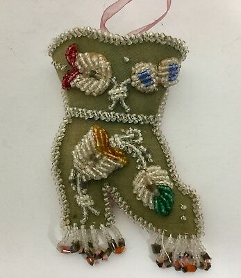 Vtg Iroquois Beaded Pin Cushion Wall Pocket Souviner Boot