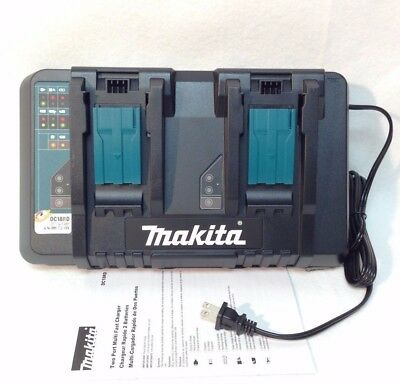 Makita DC18RD NEW Dual Port 14.4-18V Rapid Battery Charger USB For 2 BL1830 1850